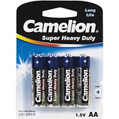 Батарейки Camelion Super Heavy Duty пальчиковые AA R6P-BP4B, 1.5V, 4 шт./уп, цена за упаковку